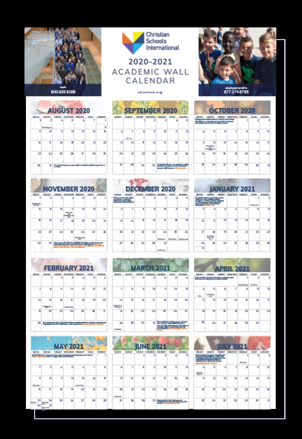 Yearly Wall Calendar 2021 2020 2021 School Year Wall Calendar   Store Christian Schools